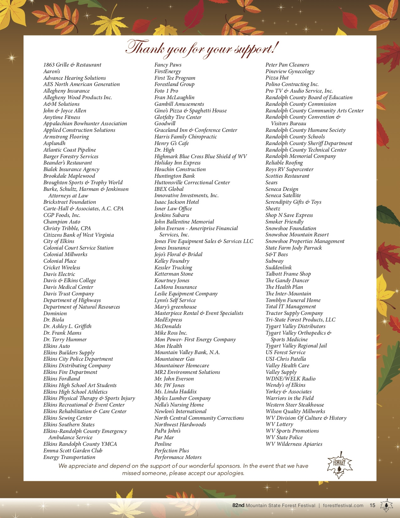 82nd Mountain State Forest Festival Sponsors